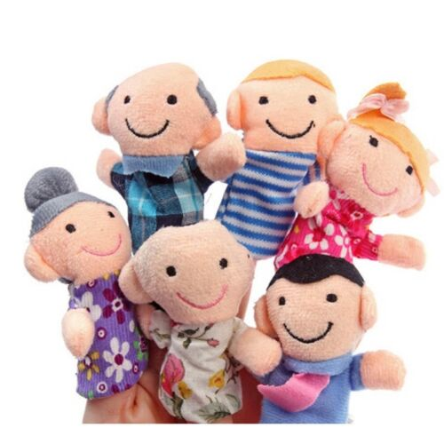 Top Lovely  6Pcs Family Finger Puppets Cloth Doll Baby Kid Educational Hand Toy