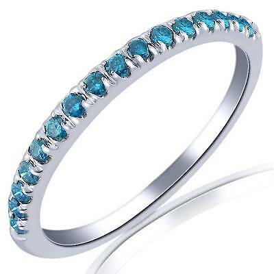 0.20 Cttw Blue Diamond Wedding Anniversary Band 10K White Gold Pave Setting