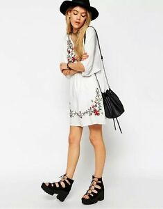 Women-Ladies-Mexican-CHINA-Ethnic-Embroidered-Pessant-Hippie-Blouse-Boho-Dress