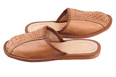 Para hombres Cuero Natural Zapatillas Zapatos Talla 6 7 8 9 10 11 12 Flip-Flop Luxury