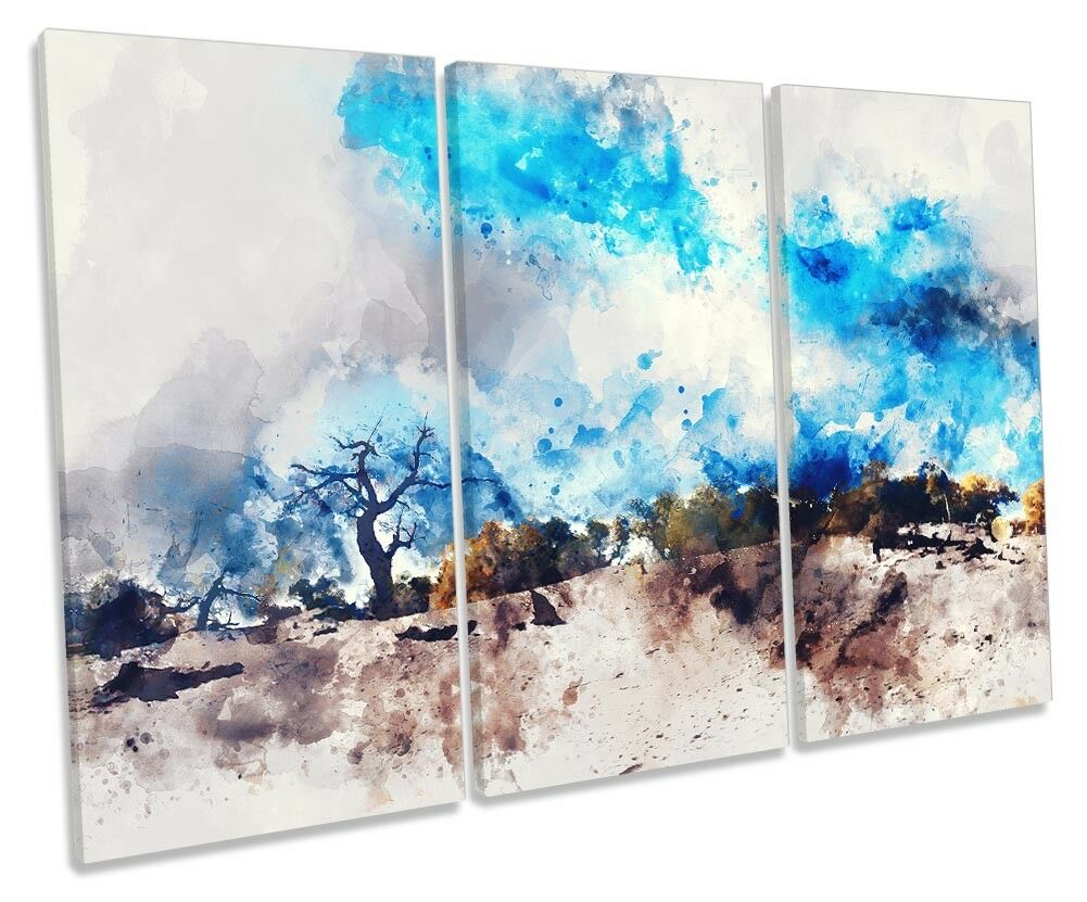 Abstract Blau Landscape Desert TREBLE CANVAS WALL ARTWORK Print Art