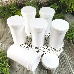 6 White Pill Bottles Jars White Lid Cap  4314 DecoJars USA Snacks 2 ounce size