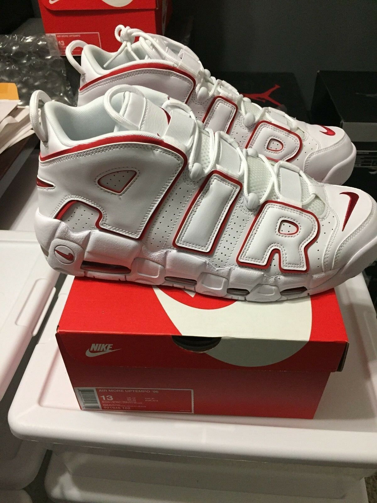 Nike Air more Uptempo '96 Blanco Tamaño Varsity Rojo Pippen Hombre Tamaño Blanco material fe841c