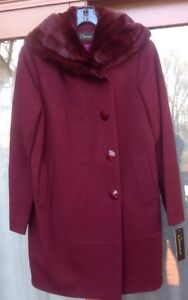 Rex 1 Coat Italy Nwt Caruana Women's Rabbit Real Gorgeous Msrp 375 Wool Collar vqI6Fxw