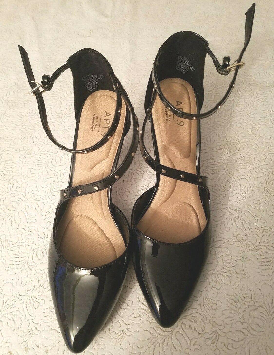 Apt 9 Womens High Heel - Pointed Toe Shoe- Black Patent Leather Sz 9