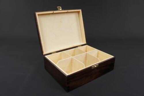 1x Mahogany Wooden Tea Box Tea Caddy Kitchen Chest 6 Compartments Storage H6mm