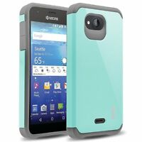 Ranz Kyocera Hydro Wave Grey/ Aqua Blue Impact Dual Layer Shockproof Bumper Case