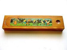 Beautiful Vintage Walt Disney's Snow White & The Seven Dwarfs Wooden Pencil Box