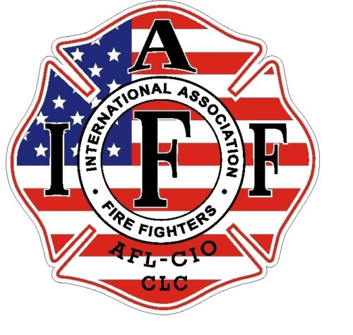 "4/"" IAFF Decal American Flag Pattern Exterior Mount READ AUCTION"