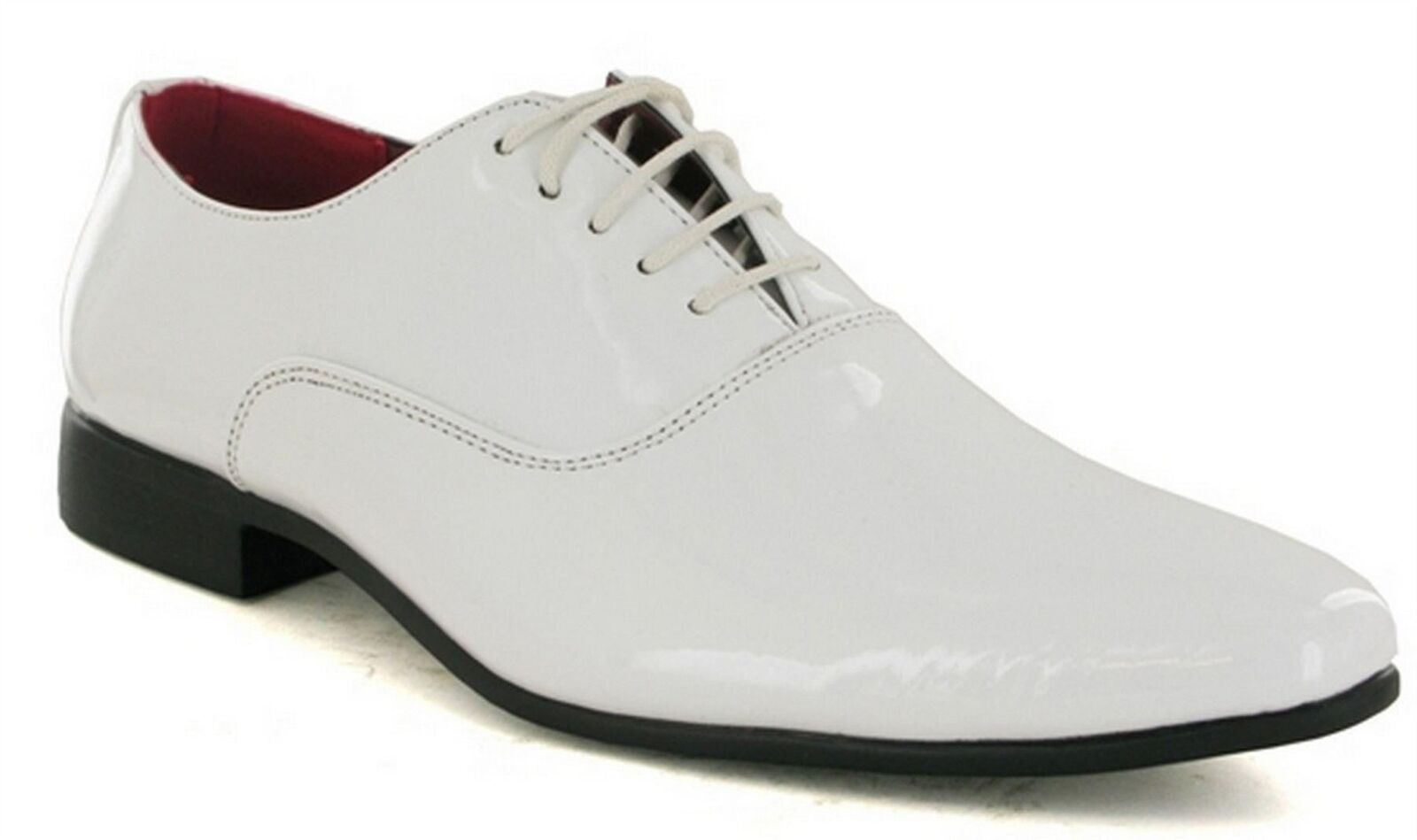 Mens White Shiny Patent Smart Lace Up Wedding Formal Pointed Oxford Shoes