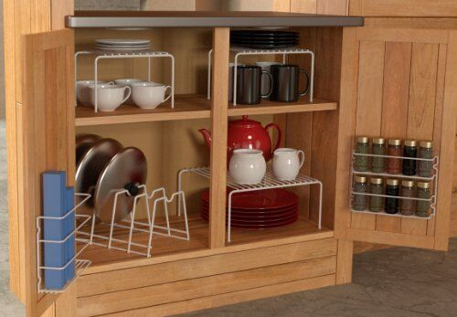 Kitchen Cabinet Organizer Set Cupboard Space Saver Kit Spice Rack Dish  Shelf NEW