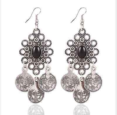 Retro Bohemia Girls and Womens Coin Chandelier Hoop Drop Earrings Long Jewelry