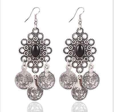 Gypsy Boho Vintage Turkish Ethnic Tribal Women Jewelry Coin Drop Dangle Earrings