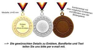 Medaillen d=45mm (Staffelpreise) Set aufgeteilt in 3 Farben-mit Emblem,Band,Text