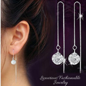 925-Sterling-Silver-Plated-Long-Chain-Ball-Crystal-Bead-Dangle-Drop-Earrings