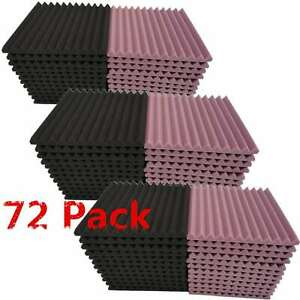 72-Pack-Acoustic-Foam-Panel-Wedge-Studio-Soundproofing-Wall-Tiles-1-034-X-12-034-X-12-034