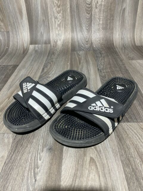 Pero Caso Wardian ir al trabajo  adidas Adissage Mens 078260 Black White Massage Sandals Slippers Size 10  Kd1 for sale online | eBay