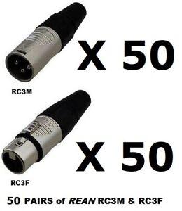 1 Genuine REAN RC3M XLR Male Plug 3 Pin Ships FREE to ALL US Zip codes