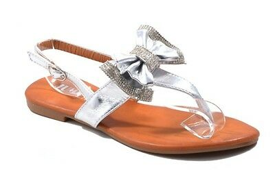Ladies Flat Silver Bow Flip Flops Toe Post Ankle Strap Strappy Diamante Sandals