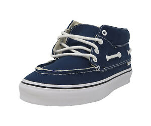 VANS Chukka Del Barco Navy Blue White Mid Top Lace Up Sneakers ... dd36643bf