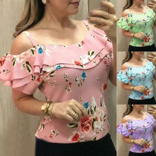 Damen Sommer Kurzarm Bluse T Shirt Spitze Top Schulterfrei Hemd Oberteile Blumen