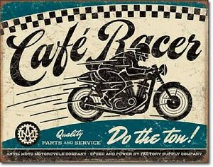 Image Is Loading Cafe Racer TIN SIGN Metal Poster Garage Vtg