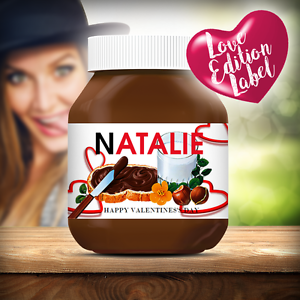 PERSONALISED VALENTINES NUTELLA LABEL GREAT GIFT FOR SOMEONE YOU LOVE HIM HER *