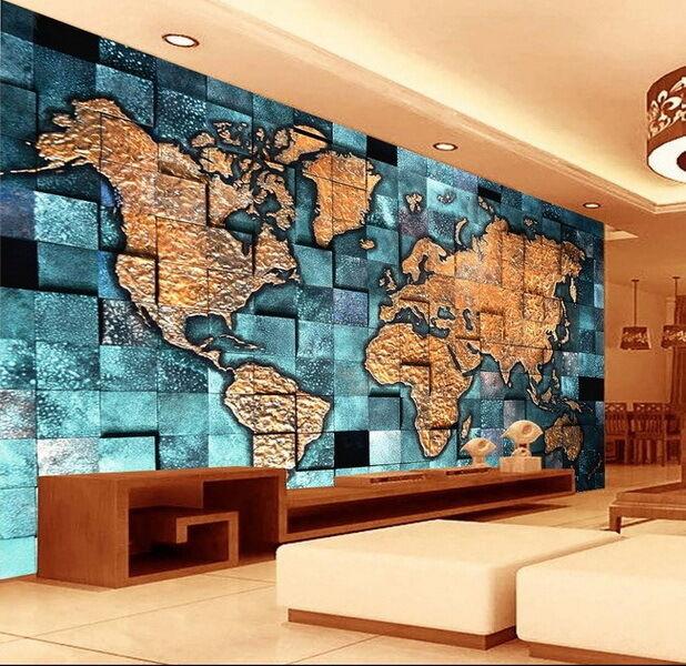3D Blau Ocean Abstract World Map Wallpaper Wall Decals Wall Art Print Mural