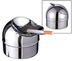 3x Klapp-Aschenbecher Klappaschenbecher Ascher verchromtes Metall Klappascher