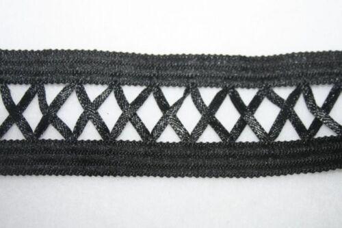 "1 yard NON Stretch Black LATTICE corset satin sewing trim Costume 1.5/"" wide"