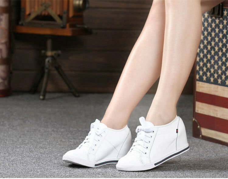 Womens Fashion Leather Hidden Wedge Heel Sneaker High top Lace up Athletic shoes