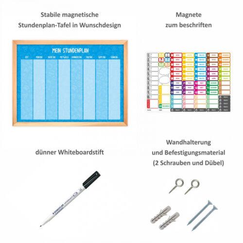 magnetischer Stundenplan Schulkind blau mit 90 Magneten