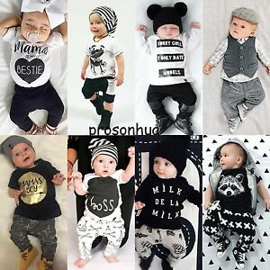 2pcs Newborn Toddler Infant Baby Boy Girl Clothes T Shirt Tops Pants