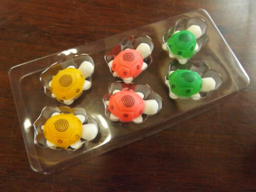 1x PACK OF 6 NOVELTY 3D NOVELTY PUZZLE TORTOISE TURTLE RUBBERS ERASERS UK SELLER