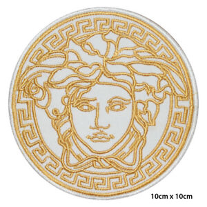 Medusa Head White Embroidered Patch Iron on Sew On Badge For Clothes Bags Etc