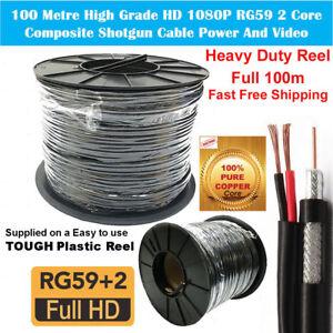 100m Drum BLACK RG59 Single Core CCTV TV Satellite Video Coaxial Cable PVC