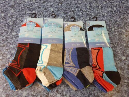 3,6,12 Pairs Mens Trainer Socks Fresh Feel Cotton Rich Blend Ankle Invis Socks