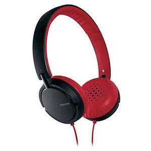 Nuevo-Philips-Eargear-Auriculares-Diadema-Rojo-Negro-SHL5000-Bajos-Profundos