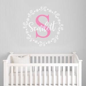 Customise-Initial-Nursery-Room-Flowers-Baby-Girl-Mural-Sticker-Vinyl-Decal-Decor
