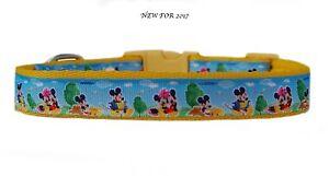 Amarillo-Rosa-Mickey-amp-Minnie-Mouse-MEDIANO-Raza-Perro-Cachorro-COLLAR-CORREA