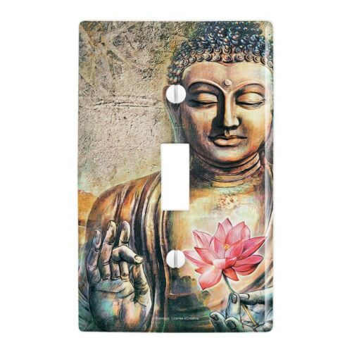 Buddha Pink Lotus Flowers Serenity Wall Light Switch Plate Cover