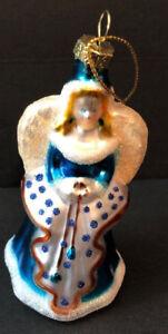 Vintage-Angel-Christmas-Ornament-Pressed-Glass-4-Glitter-Gold-Topper