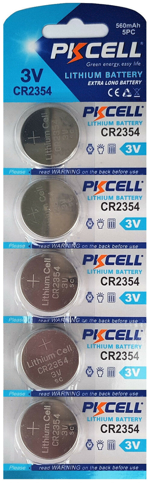 ☀ ☀ ☀ ☀ ☀ 5 x CR2354 3V Lithium Battery without deepening Groove PKCELL