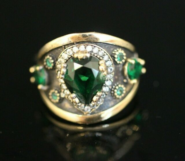 Turkish Handmade Jewelry Sterling Silver 925 Emerald Ring Ladies 9