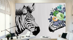 3D Hand Painted Zebra Flowers 6 Wall Paper Wall Print Decal Wall AJ WALLPAPER CA