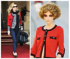 $2.9K NEW MOST WANTED 10C CHANEL RED NAVY CASHMERE CARDIGAN SWEATER JACKET 42 44