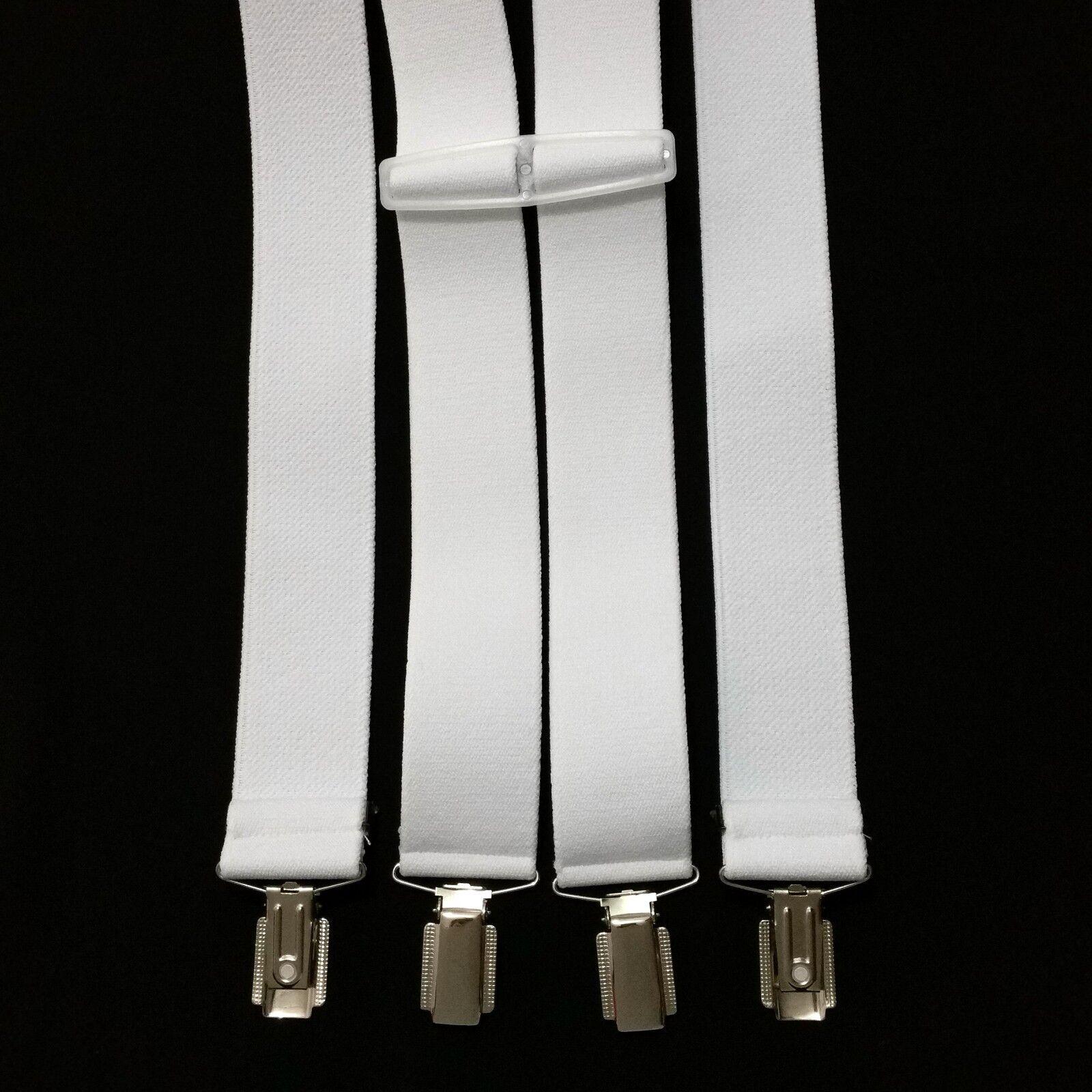 Damen Herren Hosenträger Hose Gürtel Weiß 4 starke Clips Träger H-Form breit