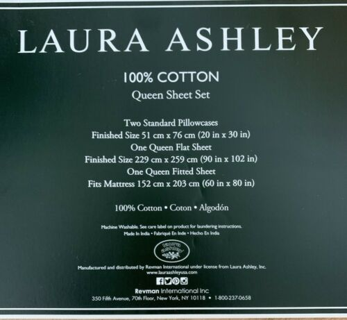 Laura Ashley 4 PC QUEEN KING Sheet Set FRAGRANT FLORAL Pink Green White NEW