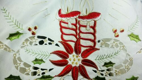 """72x144/"""" Large Embroidery Cutwork Christmas Candle Bell Red Poinsettia Tablecloth"""
