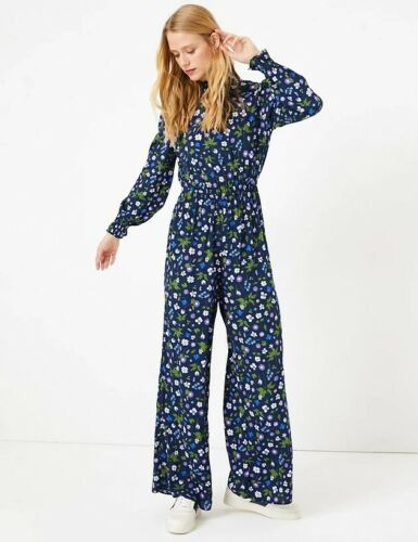 NEW RRP £38.99 Ex Marks and Spencer Navy Floral Print Waisted Jumpsuit